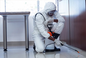 An image of a commercial property being cleaned by a worker in a Hazmat suit